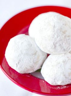 A recipe for Snowball Cookies, shortbread-style cookies loaded with nuts and rolled in powdered sugar. They're also known as Mexican Wedding Cookies and Russian Tea Cookies. Christmas Desserts, Christmas Baking, Christmas Cookies, Holiday Baking, Christmas Treats, Christmas Mix, Christmas Foods, Christmas 2019, Christmas Recipes