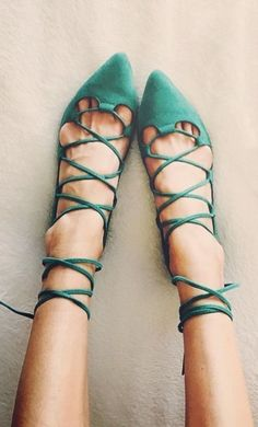 teal lace-up flats