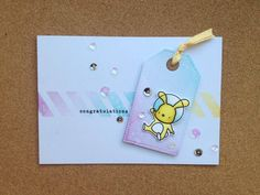 Distress Ink card with Mama Elephant tag