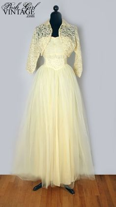 1950's Yellow Lace & Tulle Prom Party Bridal Dress- S