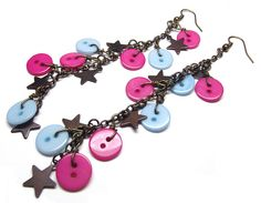 Buttons and Stars Long Charm Earrings