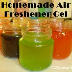 Homemade Air Freshener Gel  Food Coloring • Essential Oil or Room Fragrance drops (Can be purchased at a craft store, but I found one on sale for $2 at Wal-mart.) • Two (2) cups of water, divided into two 1-cup amounts • Four (4) envelopes unflavored gelatine (one 1-oz box) • One (1) tablespoon of salt