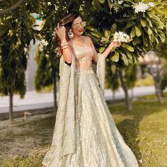 Love this silver lehenga for bride's sister Lengha Choli, Lehenga Blouse, Anarkali, Saree, Big Indian Wedding, Desi Wedding, Indian Bridal, Wedding Guest Style, Classic Wedding Dress