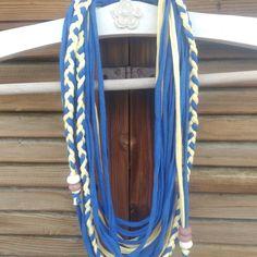 ΧΕΙΡΟΠΟΙΗΤΟ ΥΦΑΣΜΑΤΙΝΟ ΜΑΚΡΥ ΚΟΛΙΕ | Κολιέ - Jamjar.gr #handmadenecklace #tshirtnecklace Handmade Necklaces, Accessories, Jewelry Accessories