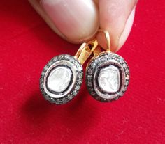 Victorian Inspired 1.54 Ct SINGLE &  ANTIQUE Cut diamond Oval Shaped Russian Lock Earrings - Free Shipping ESRPRP