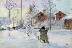 """Carl Larsson. The Yard and Wash-House (from """"A Home"""" series), c. 1895. Nationalmuseum, Stockholm"""