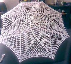 Yarn Thread, Thread Crochet, Filet Crochet, Crochet Doilies, Crochet Lace, Crochet Stitches, Crochet Patterns, Lace Umbrella, Lace Parasol