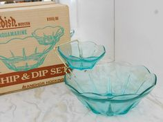 Blue Glass Chip and Dip Bowl Set  Vintage by WidhalmsCollectibles, SOLD