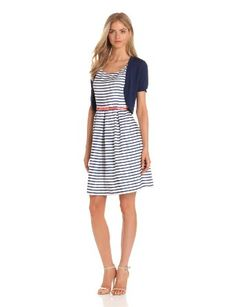 Tiana B Women's Striped Cotton Dress With Cardigan --- http://www.amazon.com/Tiana-Womens-Striped-Cotton-Cardigan/dp/B00CC61RN4/?tag=thebost0e-20