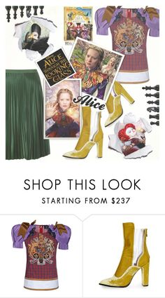 """""""Alice"""" by gabrilungu ❤ liked on Polyvore featuring Dsquared2, Topshop, Maison Scotch, contestentry and DisneyAlice"""