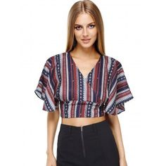 Ethnic Style Striped Batwing Sleeves Backless Tie Back Tee For Women (COLORMIX,ONE SIZE(FIT SIZE XS TO M)) in Tees & T-Shirts | DressLily.com