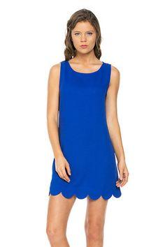 Royal Blue Scalloped Shift Dress