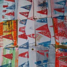 home made bunting stamp across several train tickets