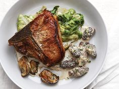 Veal Chops with Morels, Cream, and Oysters