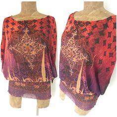 One World Poncho Top Size Large BOHO Sheer Summer Ruched Bohemian Shirt #OneWorld #Tunic #Casual