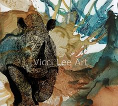 Rhino, mixed media artwork by Vicci Lee. Encaustic wax and pointillism