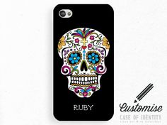 Custom Personalised Sugar Skull iPhone 4 / 4s Case Initial Monogram Name Day of the Dead Día de los Muertos - Phone Cover Customise 1003