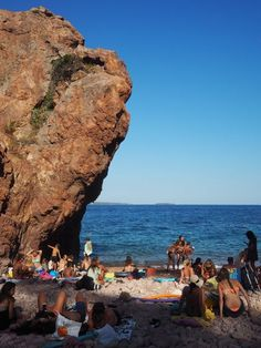 Beach of South of France. This is pointe de l'Aiguille in the Esterel massif