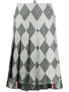 $2500.0. THOM BROWNE Skirt Below The Knee Pleated Skirt 2/ Yoke In Classic Argyle #thombrowne #skirt #pleatedskirt #knit #wool #clothing Thom Browne, Color Stripes, Pleated Skirt, Wool Blend, Grey, Classic, Skirts, Pattern, Design