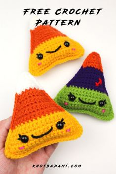 Make your very own cute candy corn candy for Halloween! Get started with amigurumi with this crochet pattern for spooky season. Create your own cute candy corn with this easy and unique crochet pattern. Cute and kawaii, this basic and beginner friendly DIY project is perfect for any crocheter that loves fall and halloween. This stuffed animal amigurumi is perfect for home decor. Great project for the holidays! Stuffed animal plushie that can be made quickly. All Free Crochet, Unique Crochet, Crochet Fall, Learn To Crochet, Single Crochet, Beginner Crochet, Halloween Crochet Patterns, Easy Crochet Patterns, Crochet Patterns Amigurumi