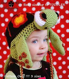Sea Turtle Ear Flap Hat baby sizes by HatsandWhatKnots on Etsy, $4.99