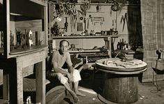 Noguchi in his studio on MacDougal Alley, a cul-de-sac in New York's West Village, where he lived from 1942 to 1949. Photo by Eliot Elisofon
