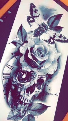 sal von Faisal Al-lami Tattoo Designs Clock Tattoo Design, Skull Tattoo Design, Skull Design, Flower Tattoo Designs, Flower Tattoos, Hand Tattoos, Skull Rose Tattoos, Body Art Tattoos, Sleeve Tattoos