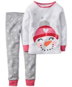 Carter's Baby Girls' 2-Piece Snowman Pajamas