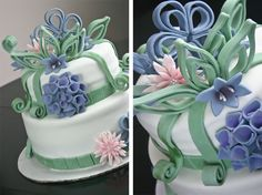 quilled fondant decos on cake