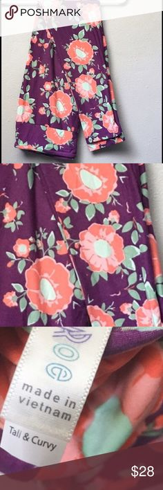 ➕ PLUS 12-22 LuLaRoe TC Purple Floral Leggings Wear under a plain dress, wear under a your favorite loose sweater or just lounge around in them.  These buttery soft leggings will soon be your go to item!  These are Tall & Curvy, versatile and stretchy enough to fit sizes 12-22.   Tried on, not actually worn.  Client decided leggings weren't for her.  Her loss!! LuLaRoe Pants Leggings