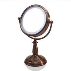 Ovente 7.5-in LED Surround Lighted Tabletop Vanity Mirror, 1x/10x Magnification, Copper.