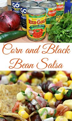 5 Minute Corn and Black Bean Salsa Recipe (I would have to leave out the ranch dressing! Salsa Verde, Healthy Snacks, Healthy Eating, Healthy Recipes, Vegetarian Recipes, Chutney, Guacamole, Black Bean Salsa, Black Bean Corn Salsa