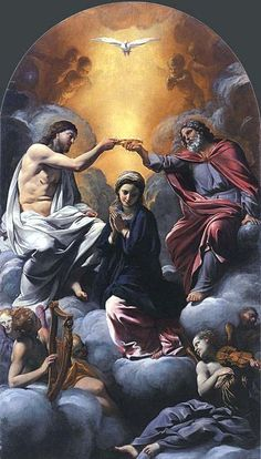 Giovanni Lanfranco - Coronation of Mary Queen of Heaven and Earth Jesus Christ Images, Jesus Art, Religious Images, Religious Art, Religious Paintings, Rennaissance Art, Renaissance Kunst, Queen Of Heaven, Blessed Mother Mary