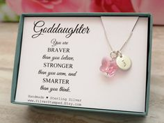 Goddaughter gift goddaughter bracelet string wish by gemsnjewells goddaughter gift for god daughter necklace sterling silver initial swarovski butterfly unique personalized birthday gift from godmother negle Image collections