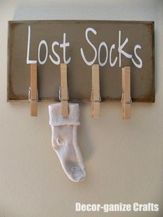 Make a Laundry Room Board for Lost Socks - Craft Idea of the Day - http://www.hometipsworld.com/decor-ganize-crafts-lost-socks.html
