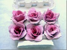 ARTESANATO COM QUIANE - Paps,Moldes,E.V.A,Feltro,Costuras,Fofuchas 3D: Rosas de Caixa de Ovos