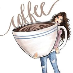 Coffee cup ☕ drawing by holly nichols illustration studio dr Happy Coffee, Coffee Girl, Coffee Is Life, I Love Coffee, My Coffee, Morning Coffee, Coffee Break, Coffe Bar, Coffee Lovers