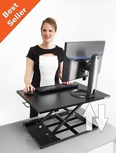 XELITE Pro Standing Desk Converter Black Cherry Maple and