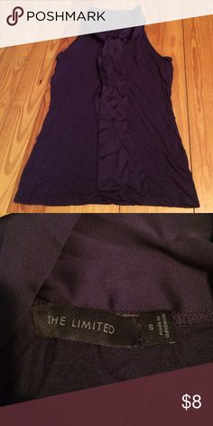 The Limited Purple Satin Tye Tank Blouse Tank is almost racerback style and a stretchy t-shirt material. The satin tie wraps around the entire neck. Can tie in multiple ways. The Limited Tops Blouses