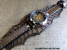 Watch Cuff Leather Bracelet Watch Steampunk by CuckooNestArtStudio