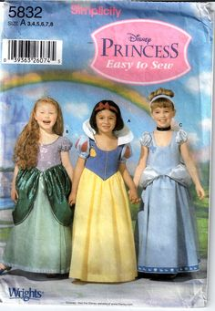 Simplicity 5832 Toddlers Childs Easy DISNEY Princess Costume Sewing  Pattern Snow White Ariel Cinderella  by mbchills