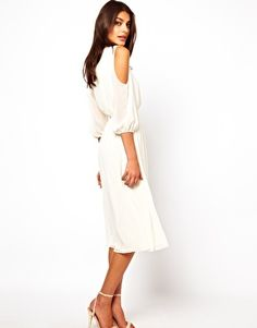 Image 1 of ASOS Midi Dress With Cold Shoulder Detail