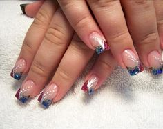 Patriotic Nail Art for the Fourth of July or the Olympic Summer Games. Airbrushed tips and beautiful.