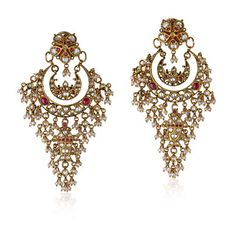 A PAIR OF PEARL AND DIAMOND EAR PENDANTS #polki #rosecut #seed#pearls #gold #ethnic #traditional #indian #earrings #chandbali