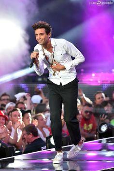 Exclusif - Le chanteur Mika, dans les arènes de Nîmes à l'occasion de la spéciale Fête de la musique de l'émission La Chanson de l'année sur TF1, le samedi 20 juin 2015.