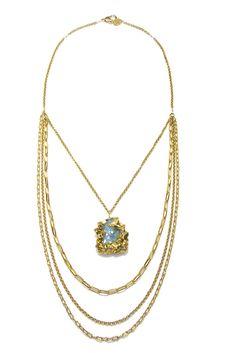 Blue Quartz Layered Necklace $438 (interesting proportions)