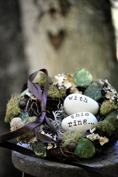 ring bearer nest - ring bearer pillow ideas Planning a spring wedding? A nest with personalized 'eggs' is a cute idea.