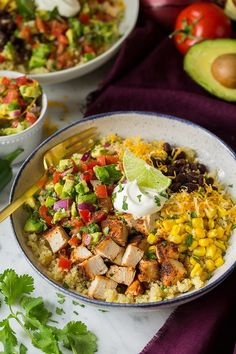 Grilled Chicken and Quinoa Burrito Bowls with Avocado Salsa - Cooking Classy Healthy Dinner Recipes, Mexican Food Recipes, Breakfast Recipes, Cooking Recipes, Cooking Ideas, Cooking Food, Healthy Meals, Food Ideas, Chicken Burrito Bowl