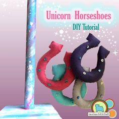 DIY felt Unicorn horseshoe game, full tutorial including the stand! Felt Diy, Felt Crafts, Horseshoe Game, Bunting Template, Felt Bunting, Felt Glue, Cowgirl Party, Kids Pages, Felting Tutorials