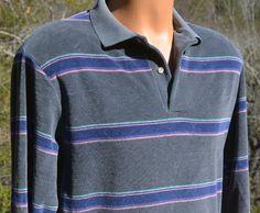 vintage 70s velour shirt polo SURF stripes sweater gray stripe Medium lord & taylor by skippyhaha